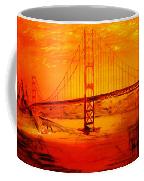 Sunset At Golden Gate Coffee Mug featuring the painting Sunset At Golden Gate by Helmut Rottler