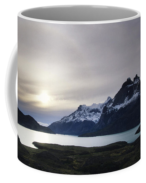Nobody Coffee Mug featuring the photograph Sunset At Lago Pehoe In The Cuenos Del by Bill Hatcher