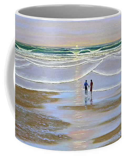 Beach Coffee Mug featuring the painting Sunset At The Beach by Frank Wilson