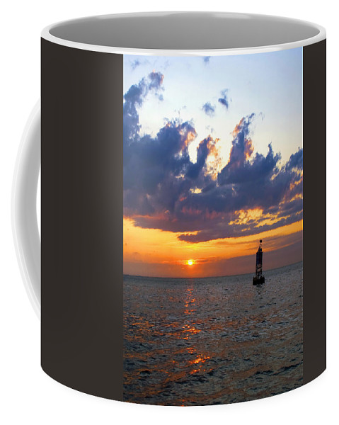 Bell Coffee Mug featuring the photograph Sunset At The Bell Buoy by Charles Harden