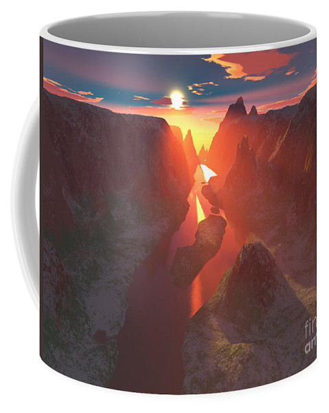 Canyon Coffee Mug featuring the digital art Sunset At The Canyon by Gaspar Avila