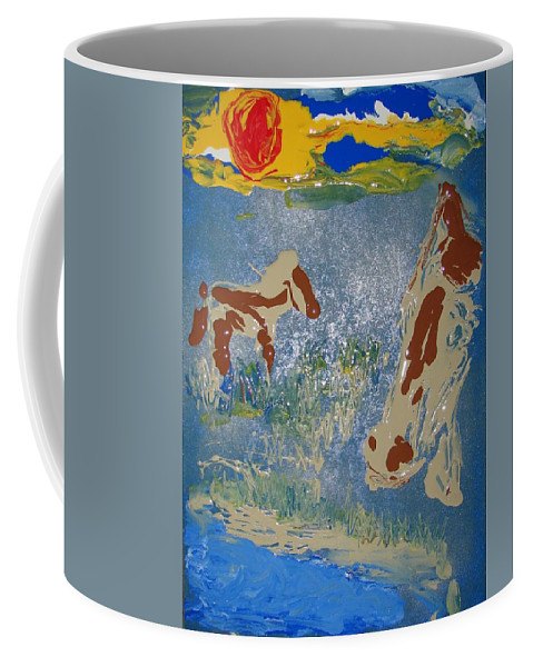 Impressionism Coffee Mug featuring the painting Sunset At The Watering Hole by J R Seymour