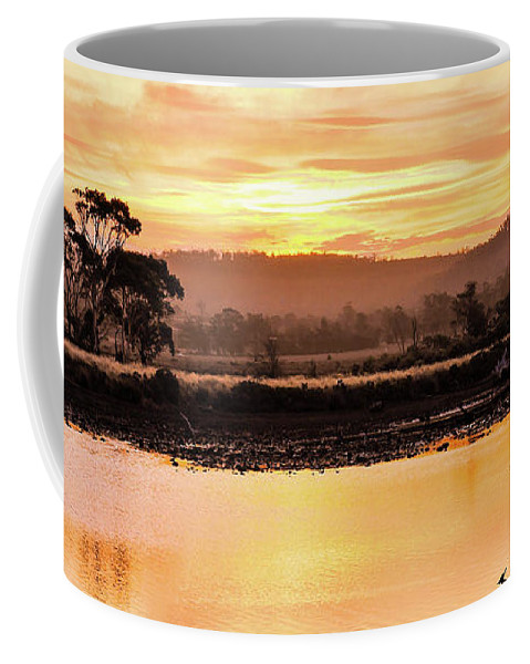 Tantaslising Tasmania Series By Lexa Harpell Coffee Mug featuring the photograph Sunset At Triabunna Tasmania by Lexa Harpell