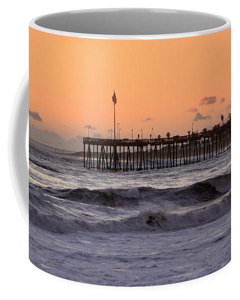 Ventura Coffee Mug featuring the photograph Sunset At Ventura Pier by Michael Gordon