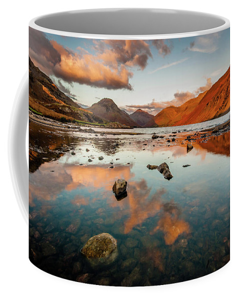 Sunrise Coffee Mug featuring the photograph Sunset at Wast Water #2, Wasdale, Lake District, England by Anthony Lawlor