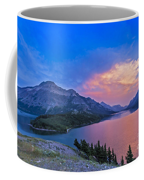 Alberta Coffee Mug featuring the photograph Sunset At Waterton Lakes National Park by Alan Dyer