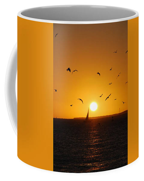 Sunset Coffee Mug featuring the photograph Sunset Birds Key West by Susanne Van Hulst