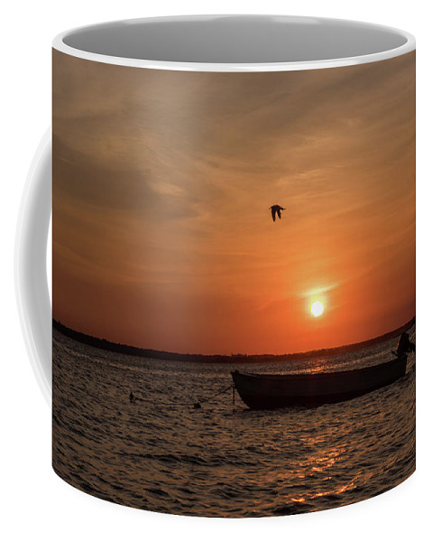 Sunset Boat Lavallette Nj Coffee Mug featuring the photograph Sunset Boat Lavallette Nj by Terry DeLuco