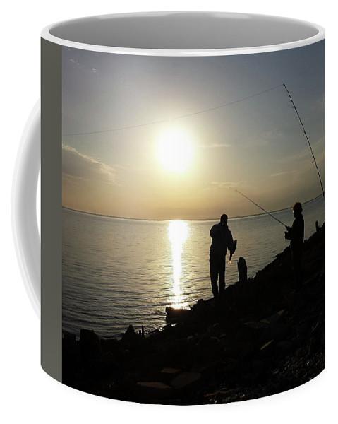Fish Coffee Mug featuring the digital art Sunset Catch, Nanticoke, Maryland by Kathleen Braza
