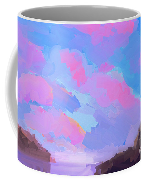 Abstract Coffee Mug featuring the painting Sunset Cove by Pixel Chimp