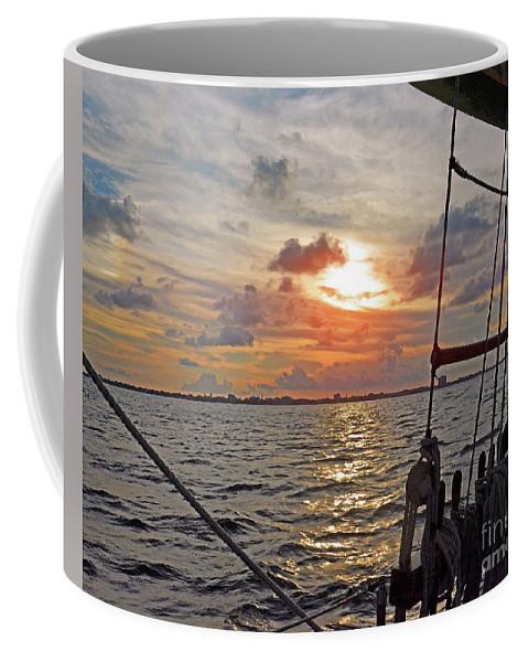 Harbor Cruise Coffee Mug featuring the photograph Sunset Cruise by Linda Vodzak