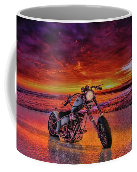 Sunset# Ocean # Motorcycle # Colorful # Chopper # Render# Panhead # Custom Chopper # Motorcycle Art # Usa # Reflections #florida # Harley-davidson # Panhead # Motorcycle # Chopper # Custom Chopper # Motorcycle Art # Reflections # American# Bobber # Harley-davidson #c4d #3d Model # Photorealistic #3d Rendering # Render # Usa # Florida # Visualization Coffee Mug featuring the photograph sunset Custom Chopper by Louis Ferreira