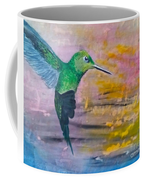 Hummingbird Coffee Mug featuring the painting Sunset Dancer by J Bauer