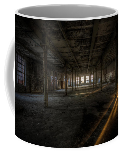 Urebx Coffee Mug featuring the digital art Sunset Factory by Nathan Wright