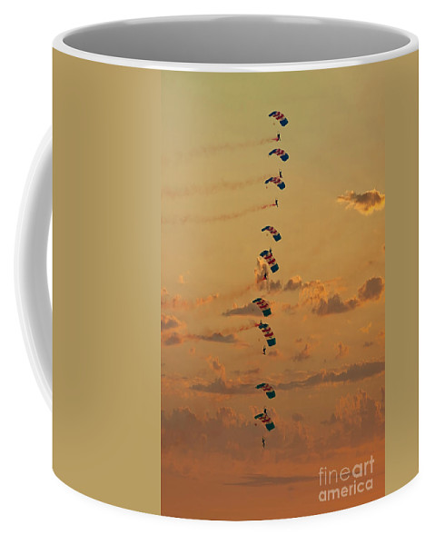 Air Show Coffee Mug featuring the photograph Sunset Falcons Stack Formation by MSVRVisual Rawshutterbug