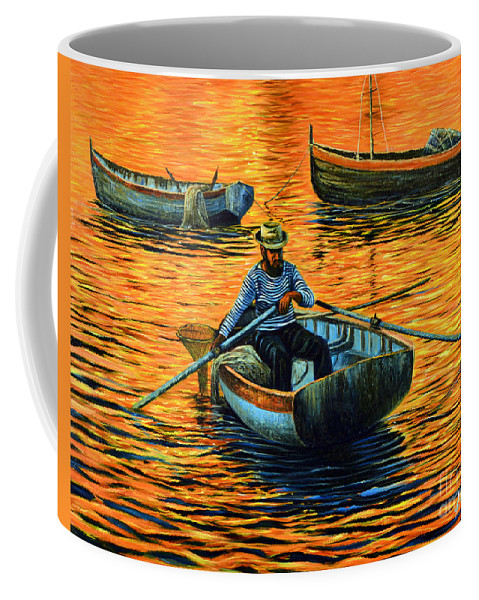 Sunset Coffee Mug featuring the painting Sunset Fishing by Ricardo Chavez-Mendez