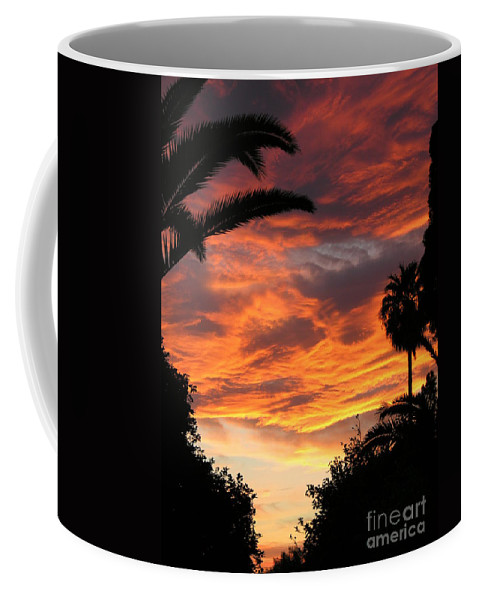 Sunset Coffee Mug featuring the photograph Sunset God's Fingers In Clouds by Diane Greco-Lesser