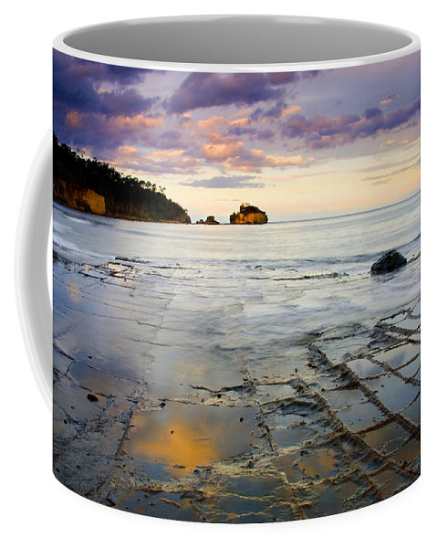 Tesselated Pavement Coffee Mug featuring the photograph Sunset Grid by Mike Dawson