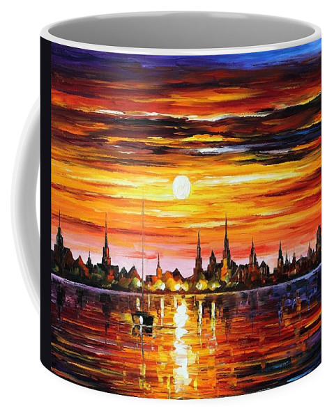 Afremov Coffee Mug featuring the painting Sunset In Barcelona by Leonid Afremov