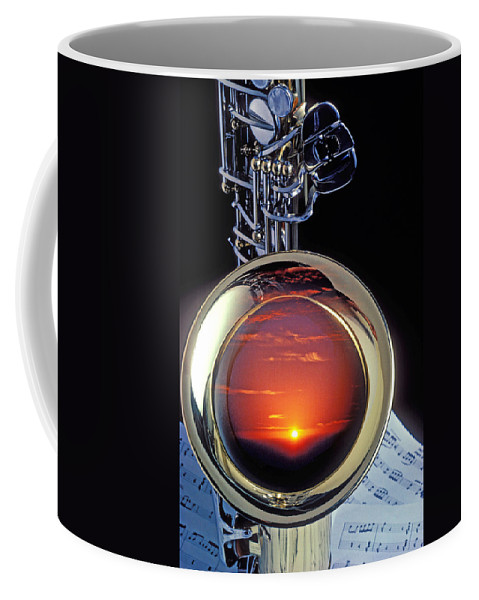 Sunset Coffee Mug featuring the photograph Sunset In Bell Of Sax by Garry Gay