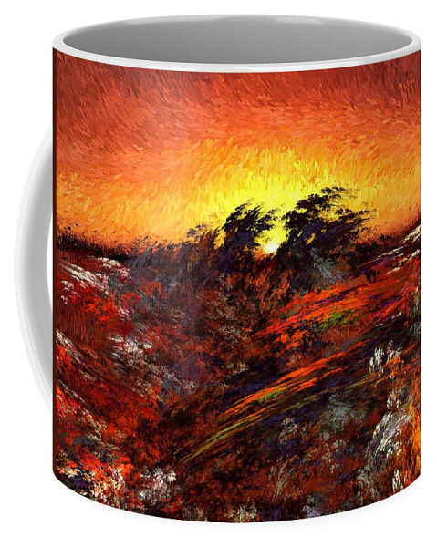 Abstract Digital Painting Coffee Mug featuring the digital art Sunset In Paradise by David Lane