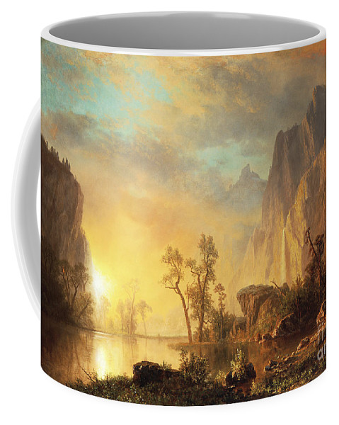 Bierstadt Coffee Mug featuring the painting Sunset in the Rockies by Albert Bierstadt