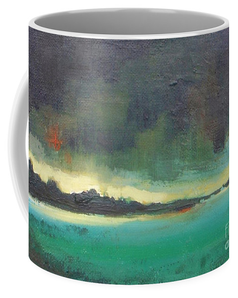 Landscape Coffee Mug featuring the painting Sunset On Blue Danube by Vesna Antic
