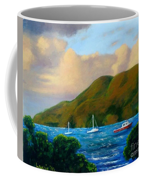 Sunset Coffee Mug featuring the painting Sunset On Cruz Bay by Laurie Morgan