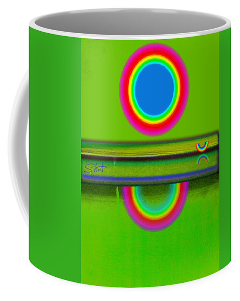Reflections Coffee Mug featuring the painting Sunset On Green by Charles Stuart