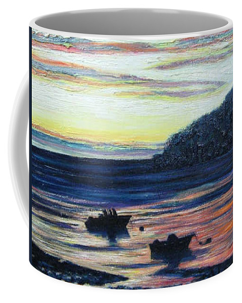 Maine Coffee Mug featuring the painting Sunset On Maine Coast by Richard Nowak