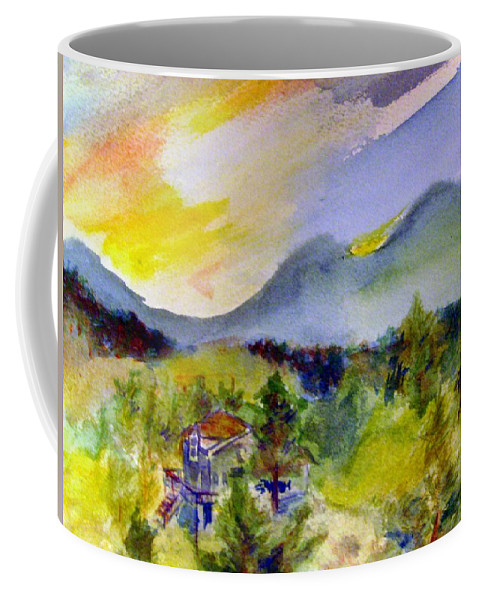 Mountain Coffee Mug featuring the painting Sunset On Mount Falcon by Andrew Gillette