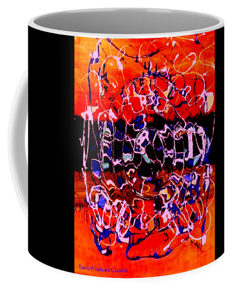Abstract Coffee Mug featuring the painting Sunset On Seaweed Beach by Rusty Gladdish
