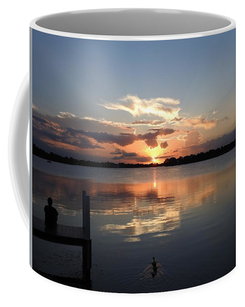 Sunset Coffee Mug featuring the photograph Sunset On The Dock by Nina Travieso