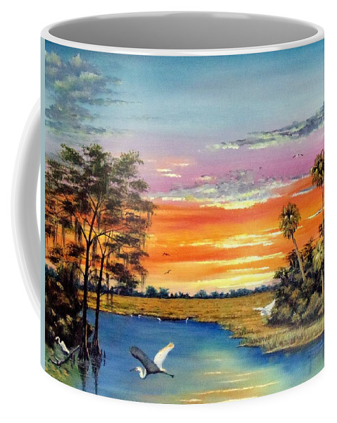 Blue Coffee Mug featuring the painting Sunset On The Glades by Riley Geddings