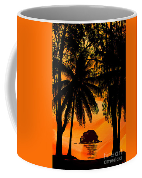 Sunset Coffee Mug featuring the drawing Sunset On The Island Of Tioman Collection - 1 by Sergey Lukashin