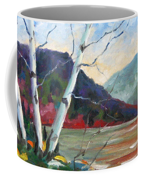 Landscape; Landscapes/scenic; Birches;sun;lake;pranke Coffee Mug featuring the painting Sunset on the Lake by Richard T Pranke