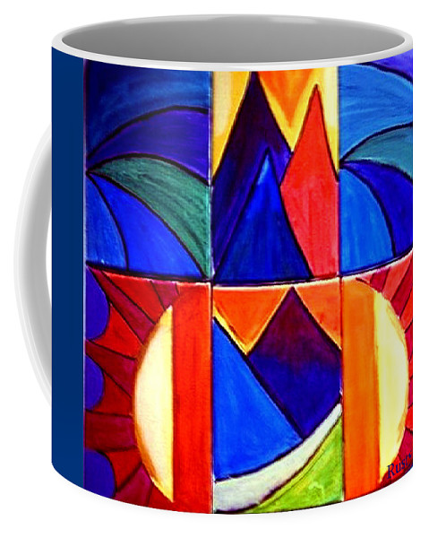 Abstract Sunset Coffee Mug featuring the painting Sunset On The Peaks by Rusty Gladdish