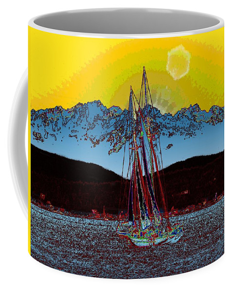Sunset Coffee Mug featuring the digital art Sunset On The Sound by Tim Allen