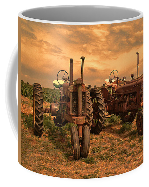 John Deere Coffee Mug featuring the photograph Sunset On The Tractors by Ken Smith
