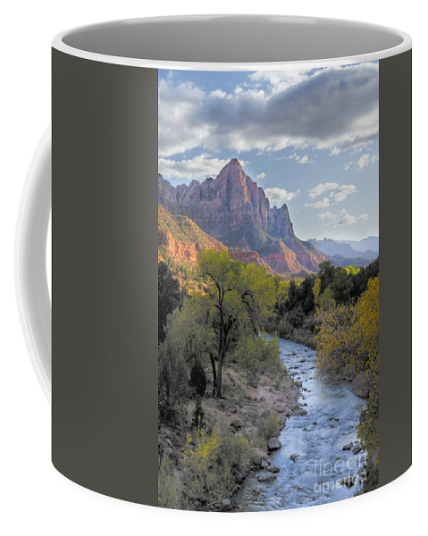 Hdr Coffee Mug featuring the photograph Sunset on The Watchman by Sandra Bronstein
