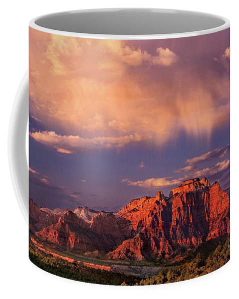 North America Coffee Mug featuring the photograph Sunset On West Temple Zion National Park by Dave Welling