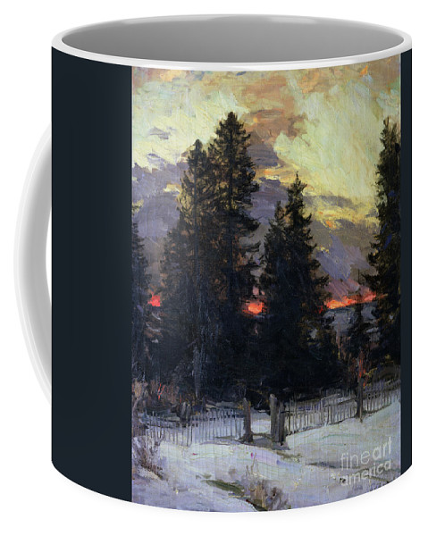 Sunset Coffee Mug featuring the painting Sunset over a Winter Landscape by Abram Efimovich Arkhipov