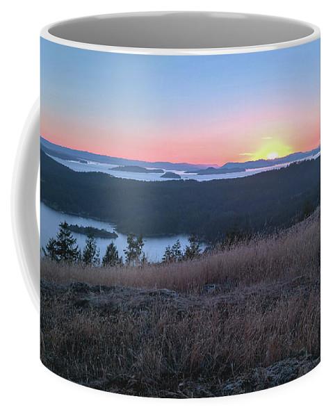Sunset Coffee Mug featuring the digital art Sunset Over San Juan Islands by Verilux Photography