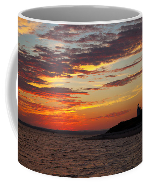 Sunset Coffee Mug featuring the photograph Sunset Over Sandy Neck Lighthouse by Charles Harden