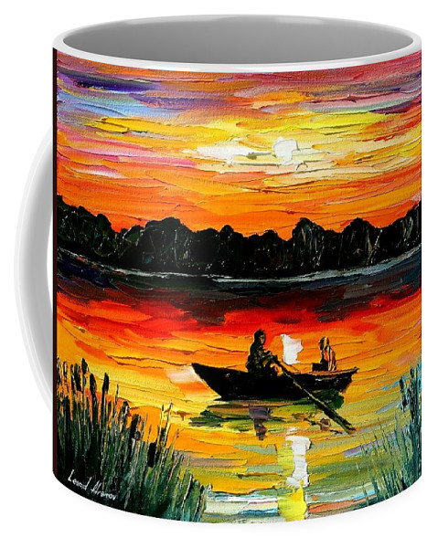 Boat Coffee Mug featuring the painting Sunset Over The Lake by Leonid Afremov