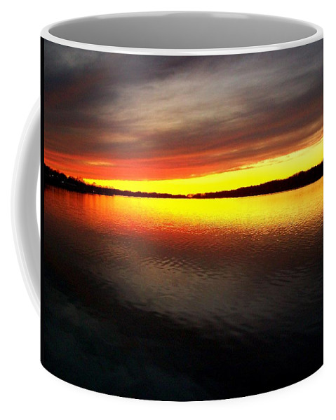 Gold Coffee Mug featuring the photograph Sunset Over The Lake by Michelle Calkins