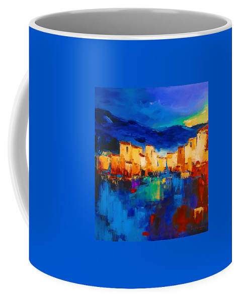 Cinque Terre Coffee Mug featuring the painting Sunset Over The Village by Elise Palmigiani