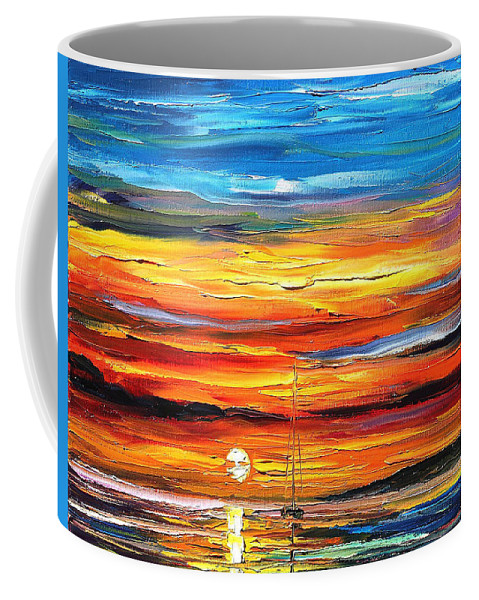 Art Gallery Coffee Mug featuring the painting Sunset - Palette Knife Oil Painting On Canvas By Leonid Afremov by Leonid Afremov