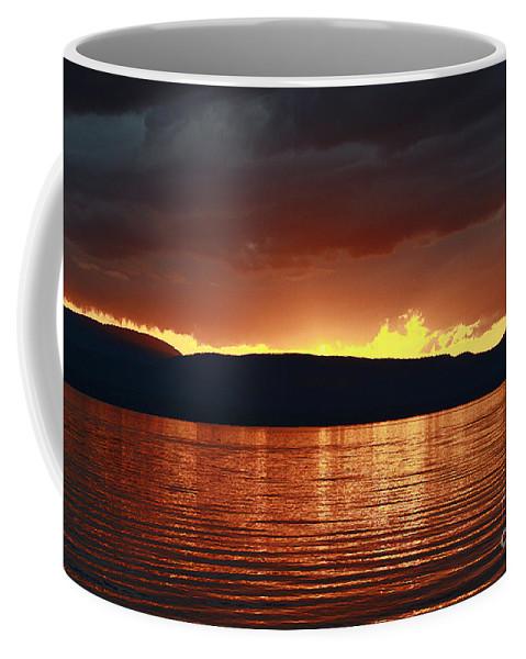 Lake Coffee Mug featuring the photograph Sunset Red by Deborah Benoit