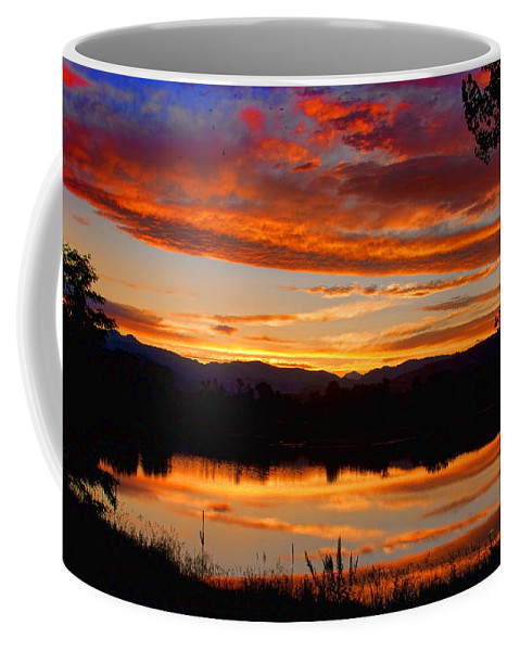 Red Coffee Mug featuring the photograph Sunset Reflections by James BO Insogna